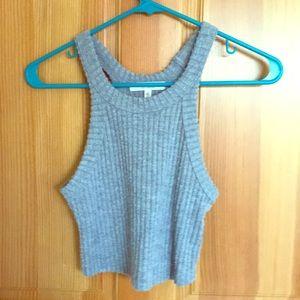 Fuzzy knit crop top